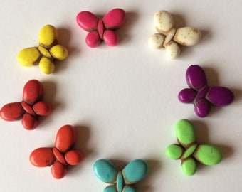 15 x 20mm Colourful Howlite Butterfly Beads