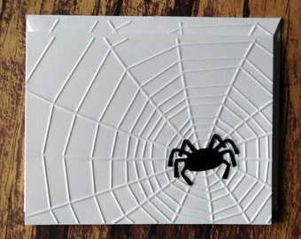 Halloween Cards, Set of 5, Embossed Spider Web Cards, Note Cards, Black Spider on Web Cards, Spider Web Greeting Card, Gift for Spider Lover