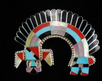 New! Zuni Native American Indian Jewelry Stunning Inlaid Rainbow Man Pin Pendant by Fadrian & Vivica Bowannie - Signed