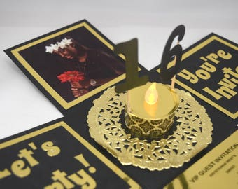 8 3D Sweet 16 Explosion Box Invitation in Black and Gold