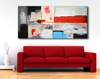 "75"" Large ABSTRACT PAINTING White Gray Black Blue Red Painting Original Canvas Art Extra Large Modern Painting XL Wall Decor #46Ci4"