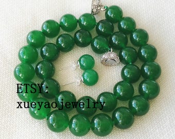 Jade Set- jade necklace, jade earrings, 12 mm green jade necklace & 10 mm earrings set