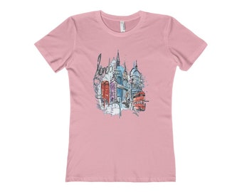 London Streets Women's T Shirt Classic Fit Tee Double Decker Bus Big Ben Phone Booth Tower Bridge Travel Vacation Gift For Her England