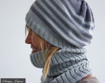 Women's hat with a neck warmer. Available in different colors.
