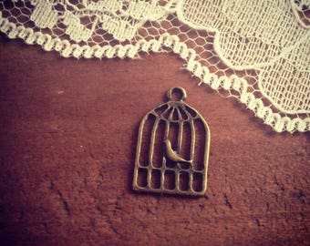1 - Antique Bronze Birdcage Charm Bird Charm Bird Cage Charm Small Charm Vintage Style Pendant Jewelry Supplies (BC160) DFLCHARM2