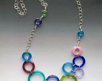 Lifesaver Necklace in Bright Colors Clustered: handmade glass lampwork beads with sterling silver