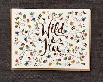 Wild & Free / Notecard / Blank Inside / FREE SHIPPING
