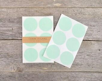 Large Mint Circle Dot Stickers - 24 pc