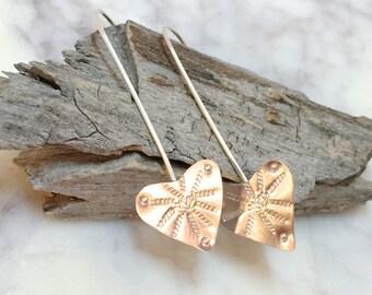 Silver Heart Earrings, Heart Earrings, Stamped Heart Earrings, Long Heart Earrings, Heart Jewelry, Delicate Earrings, Minimalist Earrings