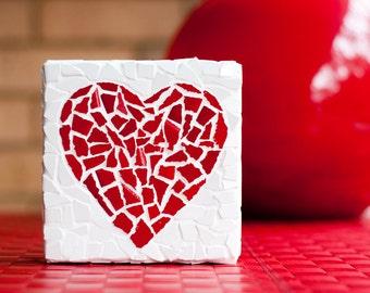 Romantic red heart mosaic design