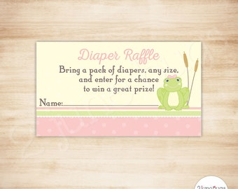 Frog Baby Shower Diaper Raffle Tickets - Frog Baby Girl Shower Game - Pink - PRINTABLE - INSTANT DOWNLOAD
