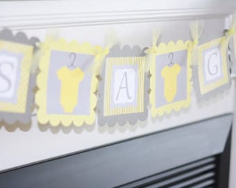 """Yellow Grey - """"Its a Boy"""" or """"It's a Girl"""" Yellow and Grey Bodysuit Baby Shower Banner - Ask About Party Pack Specials"""