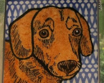 Dachshund  Stained Glass Dog Suncatcher JRN247