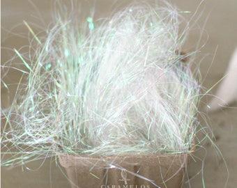 Clear White Iridescent Metallic Shred - Angel Hair Basket Filler Foil