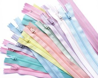 "YKK Zippers in Assorted Pastel Colors Set of 18 Pastel Colors Zippers - 6"" 9"" 10"" 12"" 14"" 16"" 20"" 22"" Inch"