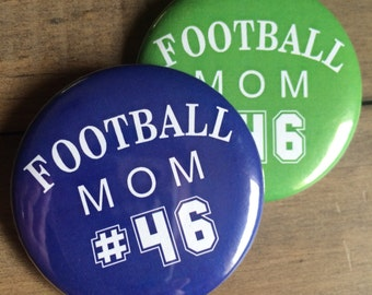 Football Pin, Love the Player, Football Mom, Football Button, Football Season, Football Pin, Football Badge, Football Fan, Number, Set of 2