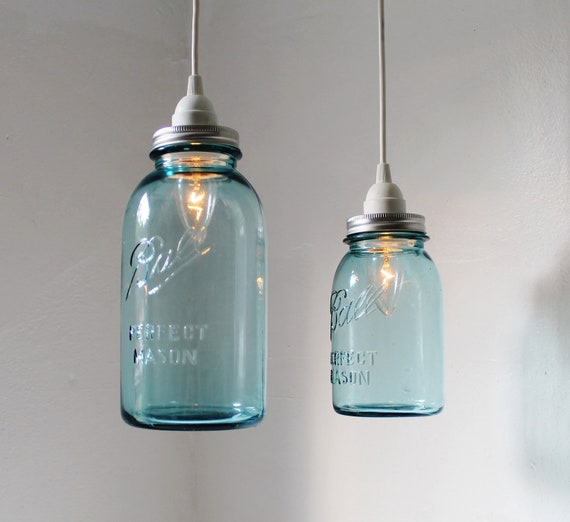 Sea glass mason jar pendant lights set of 2 hanging antique mozeypictures Image collections