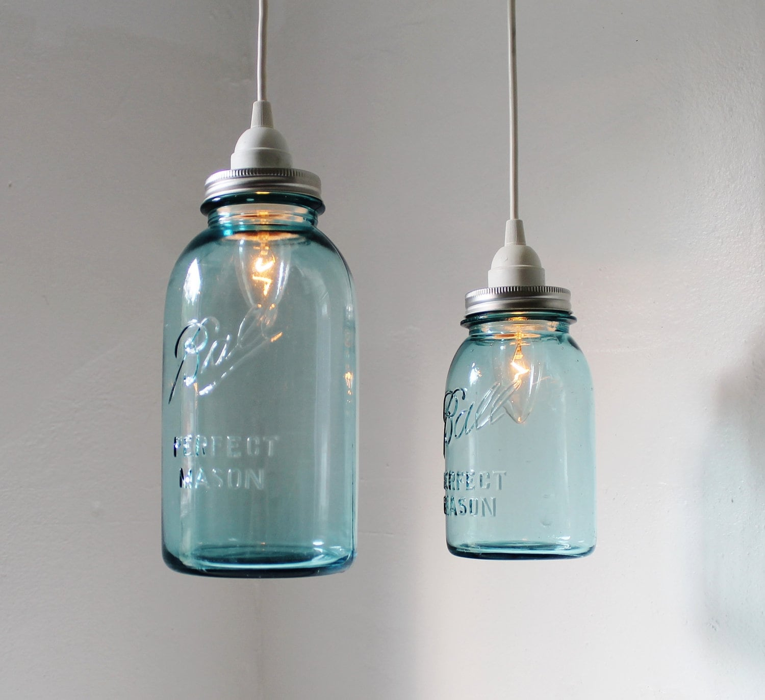 Sea glass mason jar pendant lights set of 2 hanging antique zoom arubaitofo Gallery