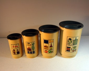 Retro kitchen cannister set-gold and olive plastic-4 cannisters with lids-mid century kitchen staging