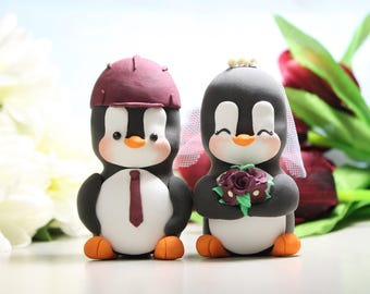 Hard hat wedding cake toppers Penguins - LARGER size - construction engineer mason unique figurine bride groom profession job burgundy red