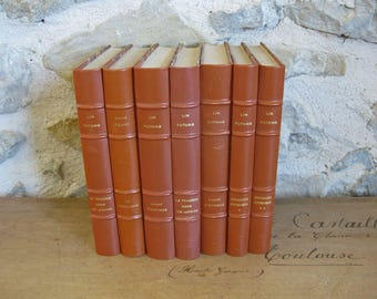 French books with marbled board covers and tan leather spines