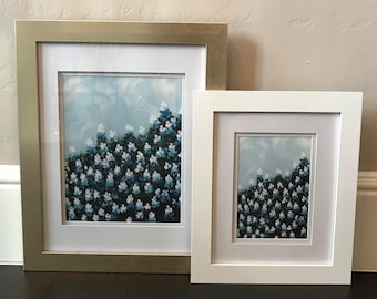 Bluebonnet Field II, Matted and Framed, Two Sizes and Two Frame Colors Available