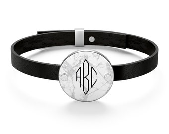Leather Bracelet - Marble Bracelet, Personalized Monogram, genuine leather, sterling silver. Free shipping to the USA.