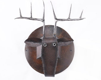 Wall Sculpture Deer Head Art Metal Mounted Animal Head