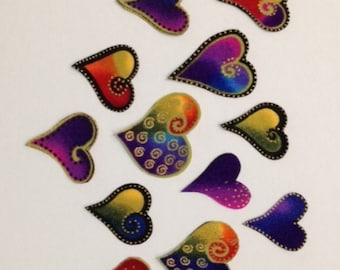 SALE*Set of 12 Mini Laurel Burch Heart Appliques*Handmade/239