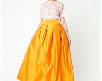Yellow maxi skirt. The length of the floor. Summer skirt. The skirt every day. High waist skirt. Floor length skirt