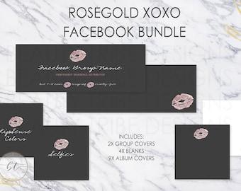 Lipsense FACEBOOK BUNDLE Rosegold xoxo - lipsense distributor social media branding kit - Digital Download