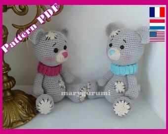 Crochet Pattern, pattern, tutorial, Amigurumi, bear NONO