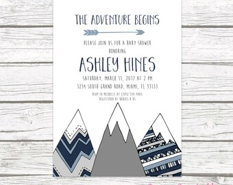Adventure Baby Shower Invitation, Mountain Baby Shower Invitation, Tribal Baby Shower, Boy Baby Shower, Adventure Awaits Printable Invite