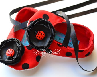 Ladybug Red with Black Polka Dots Baby Shoes - Soft Ballerina Slippers Baby Booties