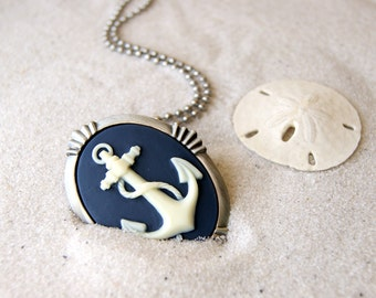 Anchor Cameo Necklace - also a brooch - choose color at checkout