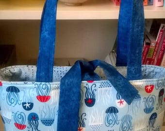 Handcrafted, red white and blue octopus 8 handbag, knitting bag, purse