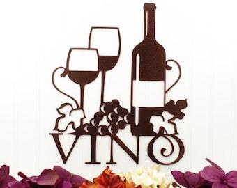 "Vino Metal Sign | Copper Vein | 13""W x 15""H | Laser Cut | Steel | Wine | Vino | Wine Sign | Wine Wall Decor | Wine Decor"