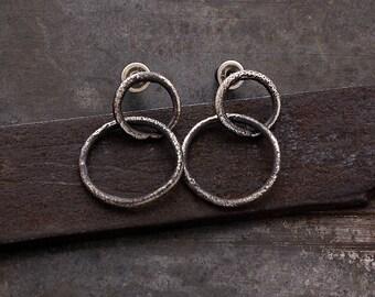 oxidised raw sterling silver double hoop stud earrings • round silver post earrings• minimal hoops •  Mother's day gift • dainty hoops