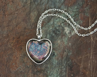 Silvered Glass Heart Pendant, Antiqued Silver Glass Jewelry, Bright Silver Finish