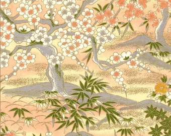 Chiyogami or yuzen paper - peachy pink garden with mountains in dove grey and gold, 9x12 inches