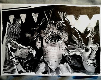 The Rancor from Star Wars Episode VI: Return of the Jedi Ink Drawing