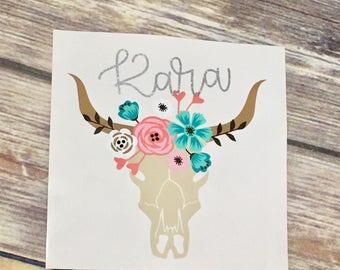 Floral Skull Decal | Monogram Cow Skull Decal | Monogram Flower Crown Decal | Floral Monogram Decal