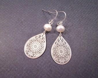 White Freshwater Pearl Earrings, Filigree Drop Pendants, Silver Dangle Earrings, FREE Shipping U.S.