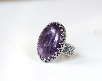 Amethyst silver ring, statement ring, February birthstone ring, sterling silver ring with purple stone, size 7 ring