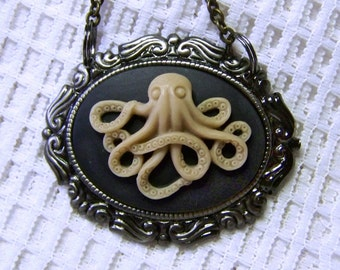 The Octopus Necklace - Rococo Style - Steampunk - Underwater Creature - The Kraken - Halloween Accessory - Black and Ivory Octopus Necklace