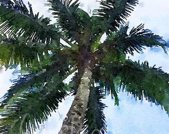 Watercolor Palm Tree Art Digital Photo
