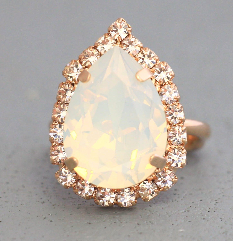 White Opal Ring Teardrop Ring Opal Swarovski Ring White Opal