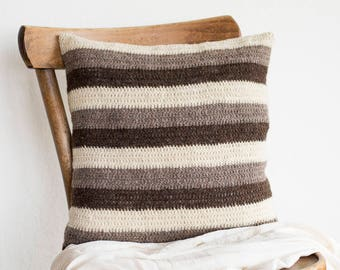 Striped Pillow Cover in Beige and Brown and White, Neutral Colors Pillow Cover, 16 x 16 Crochet Wool Cushion Cover, Eco Friendly Home Decor