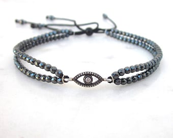 Evil eye bracelet, minimal hematite bead bracelet, dainty eye bracelet, protection bracelet with CZ, grey gemstone bracelet, sterling silver