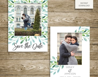 INSTANT DOWNLOAD - Photoshop Template - Watercolor Branches Save Our Date Engagement Announcement